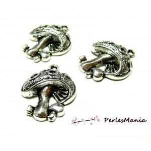 10 pendentifs champignon VIEIL ARGENT OB12378