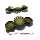 1 Support de barrette CLIP BRONZE triple cabochon 20 et 16mm ref 26141