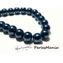 1 fil d'environ 85 perles en verre NACRE RONDE 10mm Bleu Nuit HB7211, DIY