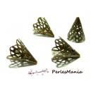 Apprêt pour bijoux: 10 pendentifs breloque coupelle cones dentelle bronze ref 11