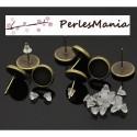 PAX: 30 Supports de Boucle d'oreille puce 10mm BRONZE et 30 poussoirs S117429