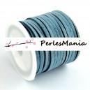 1 rouleau d'environ 5m de cordon en suédine aspect daim Bleu gris P361 qualité