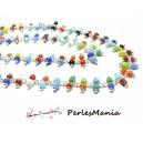 50 cm Chaine Laiton ARGENT PLATINE et perles de verre, rocaille Multicolore DOUBLE rangée ref 20