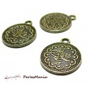 10 pendentifs ref 2Y8116 medaillon oiseau metal couleur Bronze