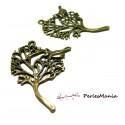 10 pendentifs oiseau et arbre A11042 Metal couleur Bronze