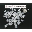 PAX: 1000 STOPPEURS EMBOUTS POUSSOIRS TUBE plastique transparents 5mm BOUCLES D'OREILLES PUCE S115756