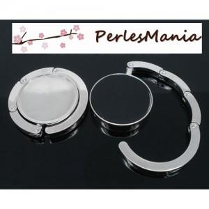 1 ACCROCHE SAC PLIABLES en ARGENT PLATINE a customiser 30mm ( S114617 )