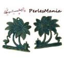 PAX 10 pendentifs ILE avec PALMIERS PATINE ANCIENNE metal couleur Bronze S1159981