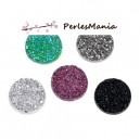 PAX 20 cabochons plat druzy, drusy ronds 18mm MIXED COLOR S1176745
