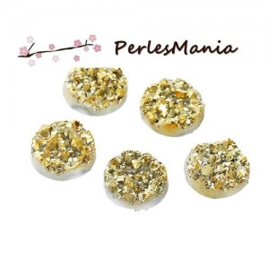 PAX 50 cabochons plat druzy, drusy ronds 12mm S1176702