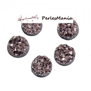 PAX 30 cabochons plat druzy, drusy ronds 8mm S1184274