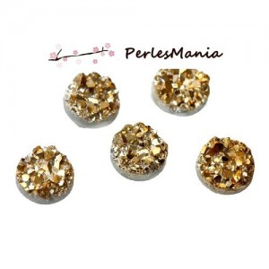 PAX 50 cabochons plat druzy, drusy ronds 10mm S1179958