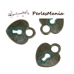 PAX 30 pendentifs COEUR CADENAS PATINE ANCIENNE metal couleur Bronze S1184152