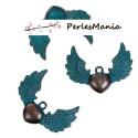 PAX 10 pendentifs COEUR avec AILE PATINE ANCIENNE metal couleur Bronze S1184163