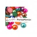 100 cabochons demi perle nacré fond plat multicolores Nail Art 8mm
