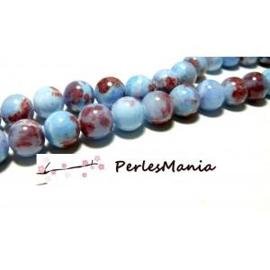 10 perles jade teintée 12mm POURPRE BLEU R73097