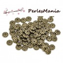 PAX 100 perles intercalaires passants RONDELLES FLEURS 7mm BRONZE S1113677
