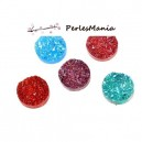 PAX 20 cabochons plat druzy, drusy ronds 12mm MIXED COLOR S1177306