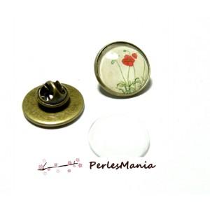 20 pièces: 10 supports de broche PINS en 25mm BRONZE et 10 cabochons en verre