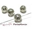 PAX 200 perles intercalaire ronde dentelle filigrane 10mm 2N6705 ARGENT PLATINE