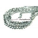 1 fil d'environ 150 perles facettées rondelles argenté 3 par 4mm ref 2J1201