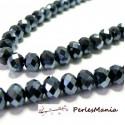 1 fil d'environ 95 perles facettées rondelles argenté 4 par 6mm ref 2J1121