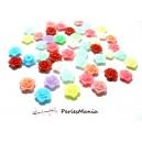 50 pendentifs Petites fleurs acrylique multicolores perles intercalaires 12mm ( S1143092 )
