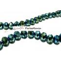 1 fil d'environ 100 perles à facettes rondelles en verre 4x6mm BLEU VERT IRISE 2J1412