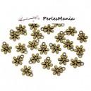PAX 50 pendentifs FLEURS 13 par 11mm metal couleur BRONZE S114446