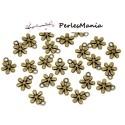 PAX 50 pendentifs FLEURS 13 par 11mm metal couleur BRONZE S1114446