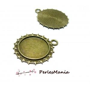 PAX 30 Supports de PENDENTIF ROND ETOILES 25mm metal couleur BRONZE S1154815
