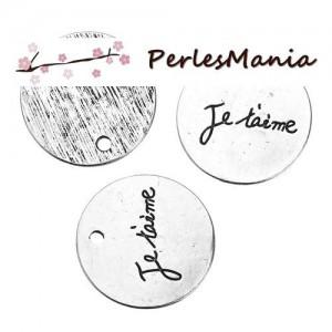 PAX 10 pendentifs breloques JE T AIME metal couleur ARGENT ANTIQUE S1183043