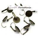 10 pièces boucle d'oreille DORMEUSE PLATEAU metal couleur BRONZE 14mm