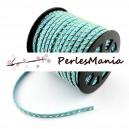 3 mètres de cordon de suédine cloutée DORE aspect Daim bleu turquoise 4.5mm PRG416