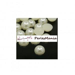 100 cabochons demi perle nacré fond plat IVOIRE Nail Art 8mm couleur 22