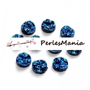20 cabochons plat druzy, drusy ronds 12mm H40126