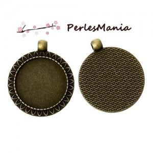 2 pendentifs ARTY VINTAGE BRONZE Arabesque de feuille 25mm ( S1142430 )