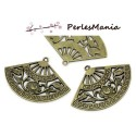 4 pendentifs breloque FORME EVENTAIL 3.7cm metal BRONZE ( S112760 )