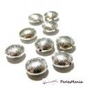 PAX: 30 perles plates intercalaire STRIES metal couleur ARGENT ANTIQUE S112025