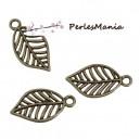 PAX 100 pendentifs breloque FEUILLE metal couleur Bronze S118450
