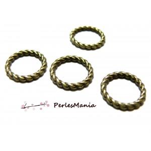 PAX 50 pendentifs anneau connecteur TORSADE 15mm metal Couleur BRONZE, S112851