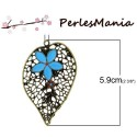 1 breloque pendentif FEUILLE AJOUREE Fleur emaille BLEUE métal couleur Bronze S1159212