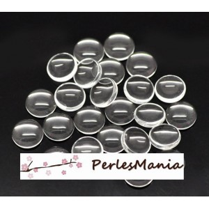 PAX 100 cabochons en verre transparents 25mm H112625