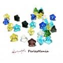 PAX 30 perles de verre FORME FLEUR 9 par 6mm Multicolores H9X6mm