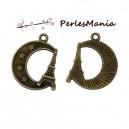 10 pendentifs breloque ETOILES AVEC LUNE metal couleur Bronze ( S1145194 )